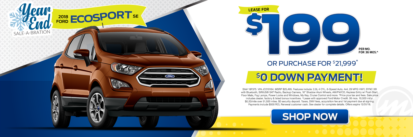 2018 ford ecosport se sport utility no money down